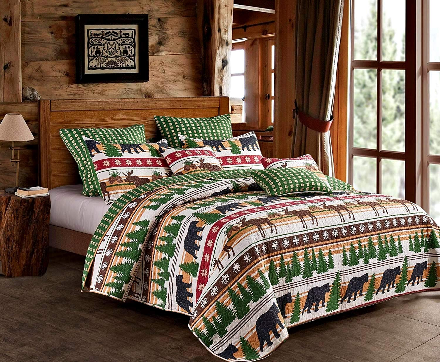Moose 3pc King Size Quilt and Pillow Sham Set