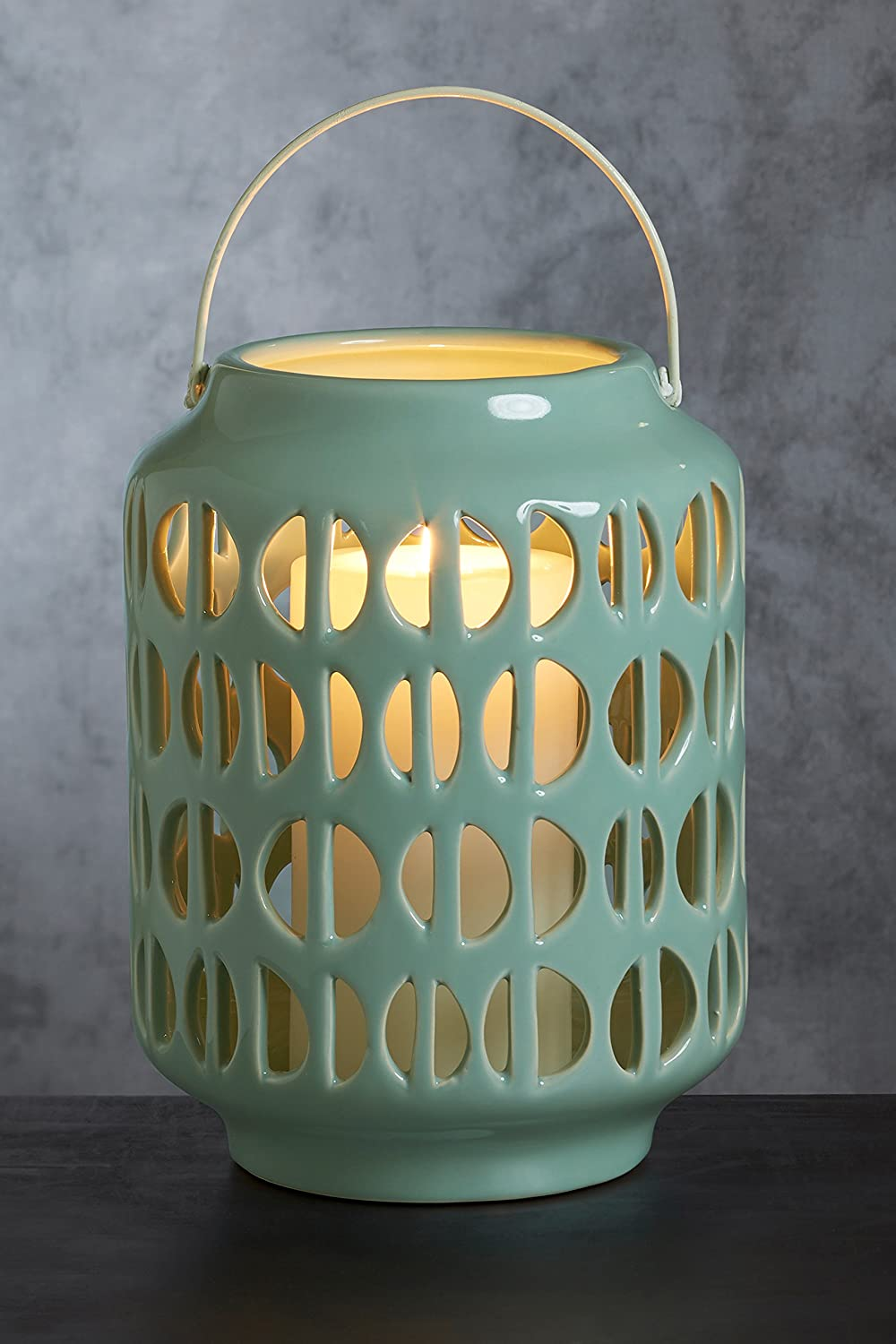 Next Ceramic Lantern With Openings One Size Green Amazon Co Uk Kitchen Home