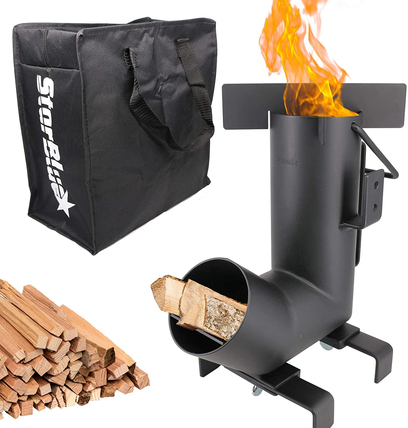 StarBlue Camping Rocket Stove with Free Carrying Bag - A Portable Wood Burning Camping Stove with Large Fuel Chamber Best for Outdoor Cooking, Camping, Picnic, BBQ, Hunting, Fishing