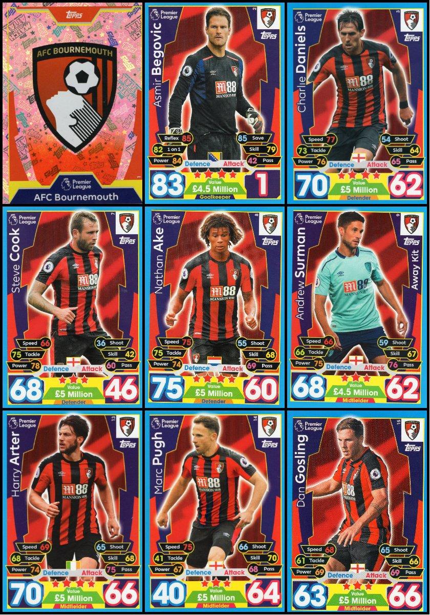 MATCH ATTAX 2017//18 AFC BOURNEMOUTH FULL 18 CARD TEAM SET 17//18