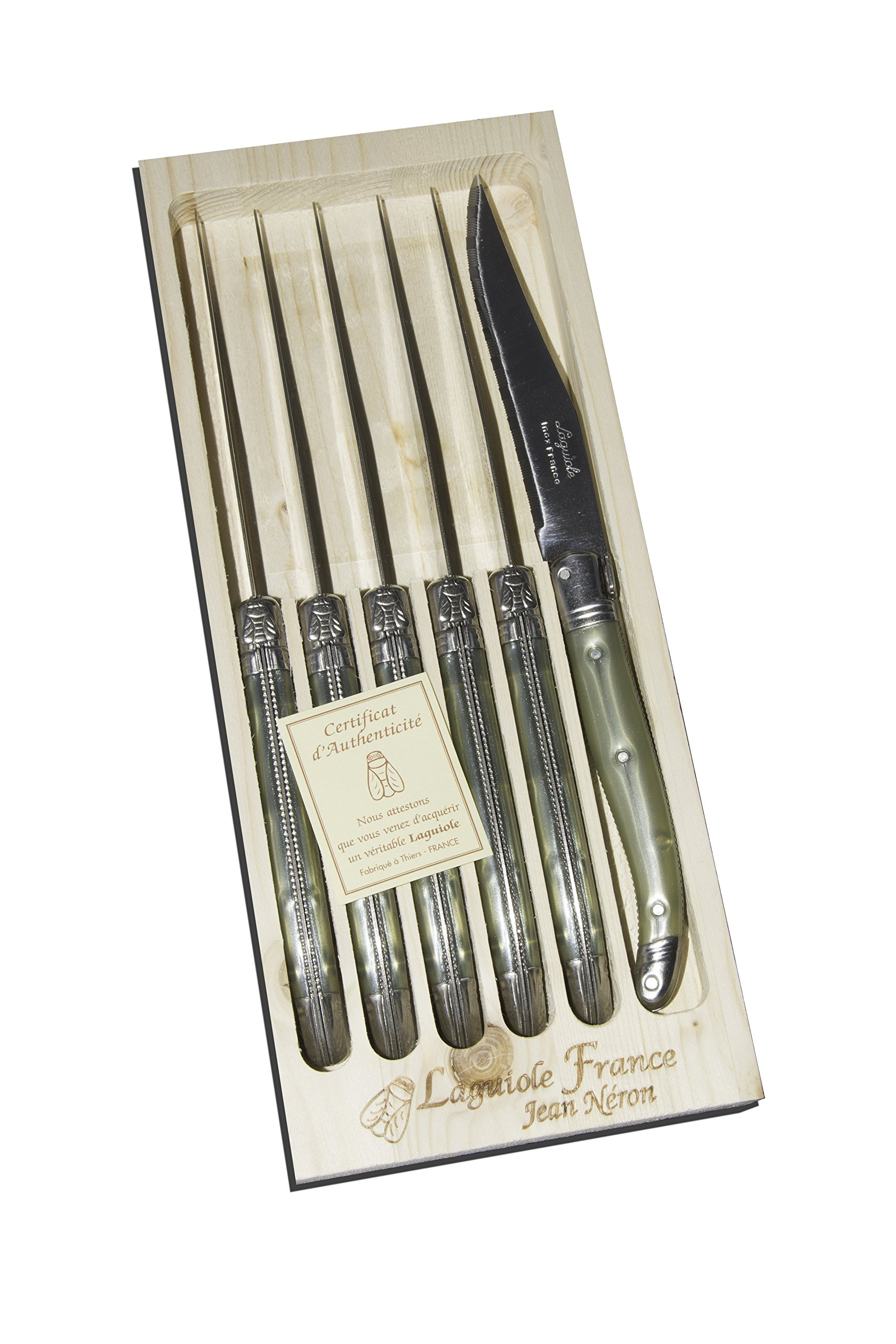 Neron Coutellerie 6 Piece Laguiole Steak Knife Set With Plates Champagne Handle In Wooden Box, Silver
