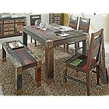 tischgruppe punjab akazie metall esszimmertisch sitzbank 4x stuhl esstisch esszimmer wohnzimmer kuche