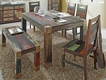 Tischgruppe Punjab Akazie Metall Esszimmertisch Sitzbank 4x Stuhl