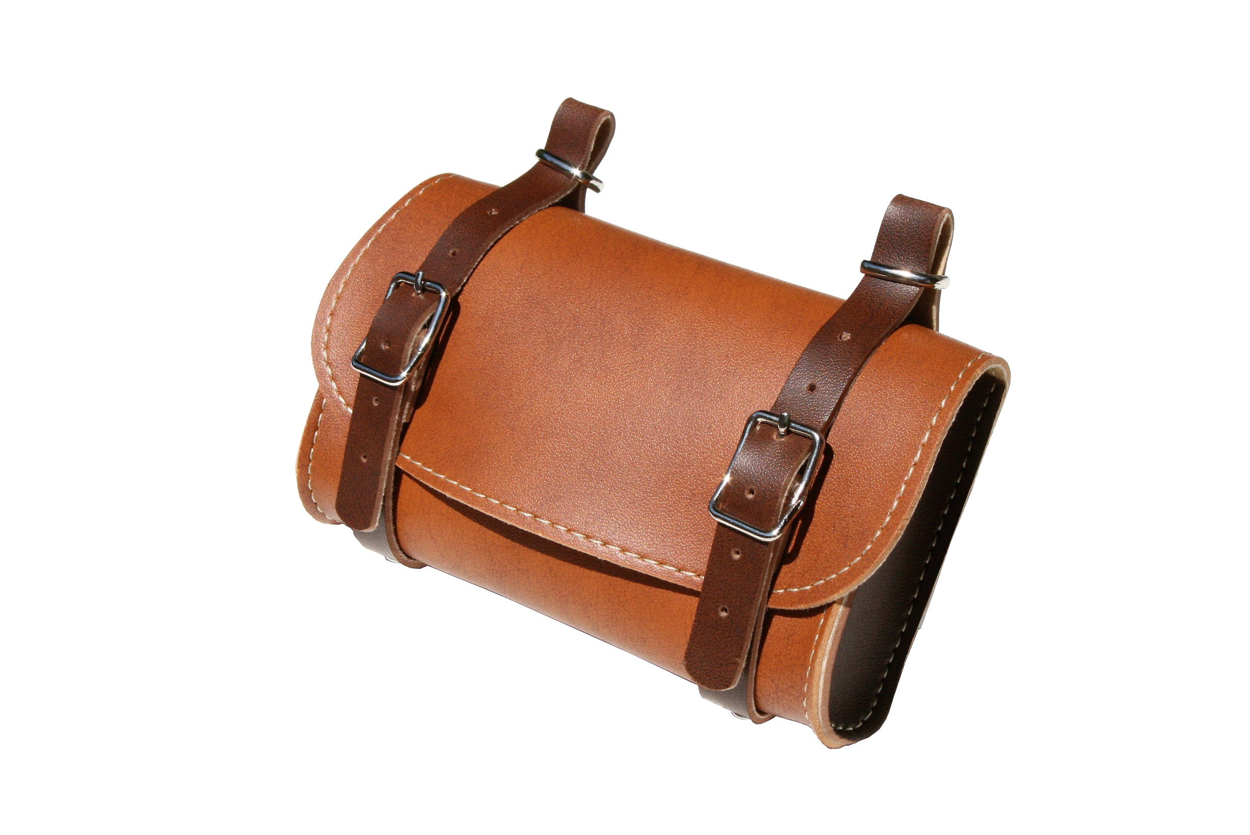 Rear Saddle Bicycle Bag Classic. Bike pannier. Cycling storage. Vintage Style. Simil Leather. Color Honey/Brown. 100% MADE IN ITALY