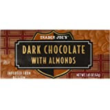 Trader Joe's Belgian Dark Chocolate with Almonds, 1.65 oz Bars (2 Packs of 3)