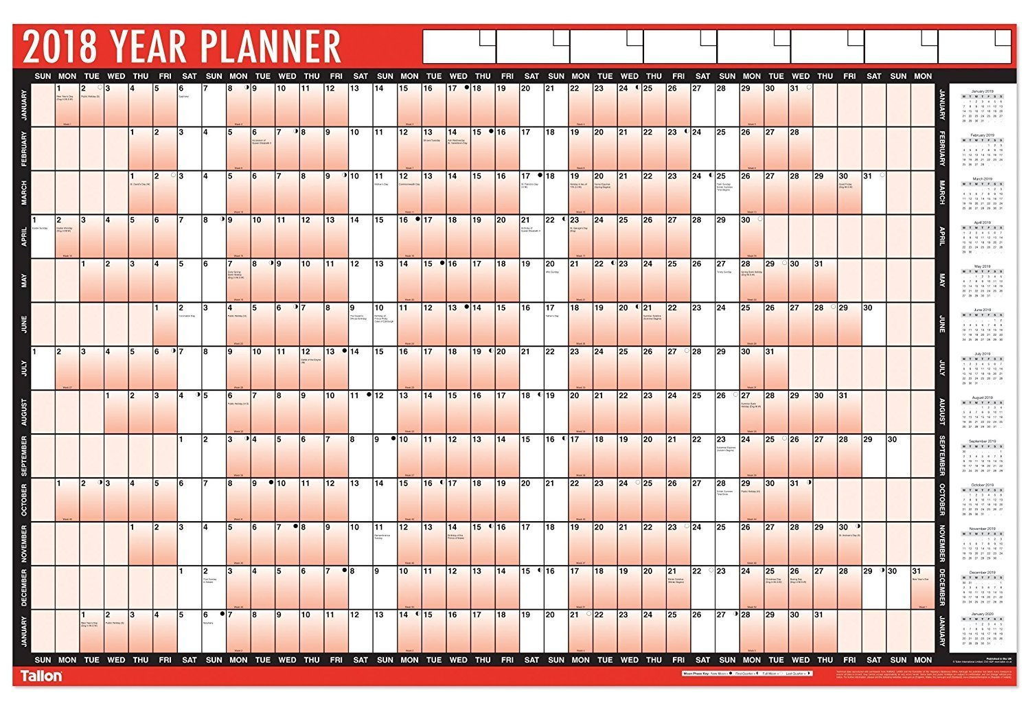 2 x 2018 A1 Laminated Yearly Wall Planner Calendar With Wipe Dry Pen & Sticker Dots Tallon