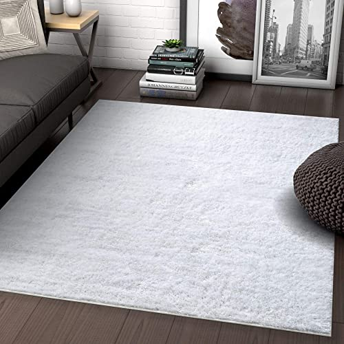 Well Woven Luxy Soft And Plush Solid Shag White Plain Color Modern 3×5 3'3 x 5' Area Rug Luster Pile Dense Plush Carpet