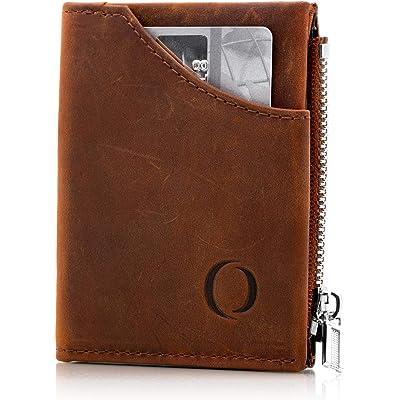 Cartera pequeña con Monedero para Hombre - Billetera de Piel con Tarjetero RFID y Monedero con Cremallera, Regalos para Hombre, marrón Vintage