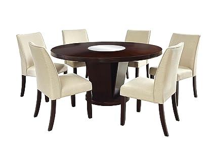 7 piece round dining set contemporary amazoncom furniture of america telstars 7piece round table dining set espresso