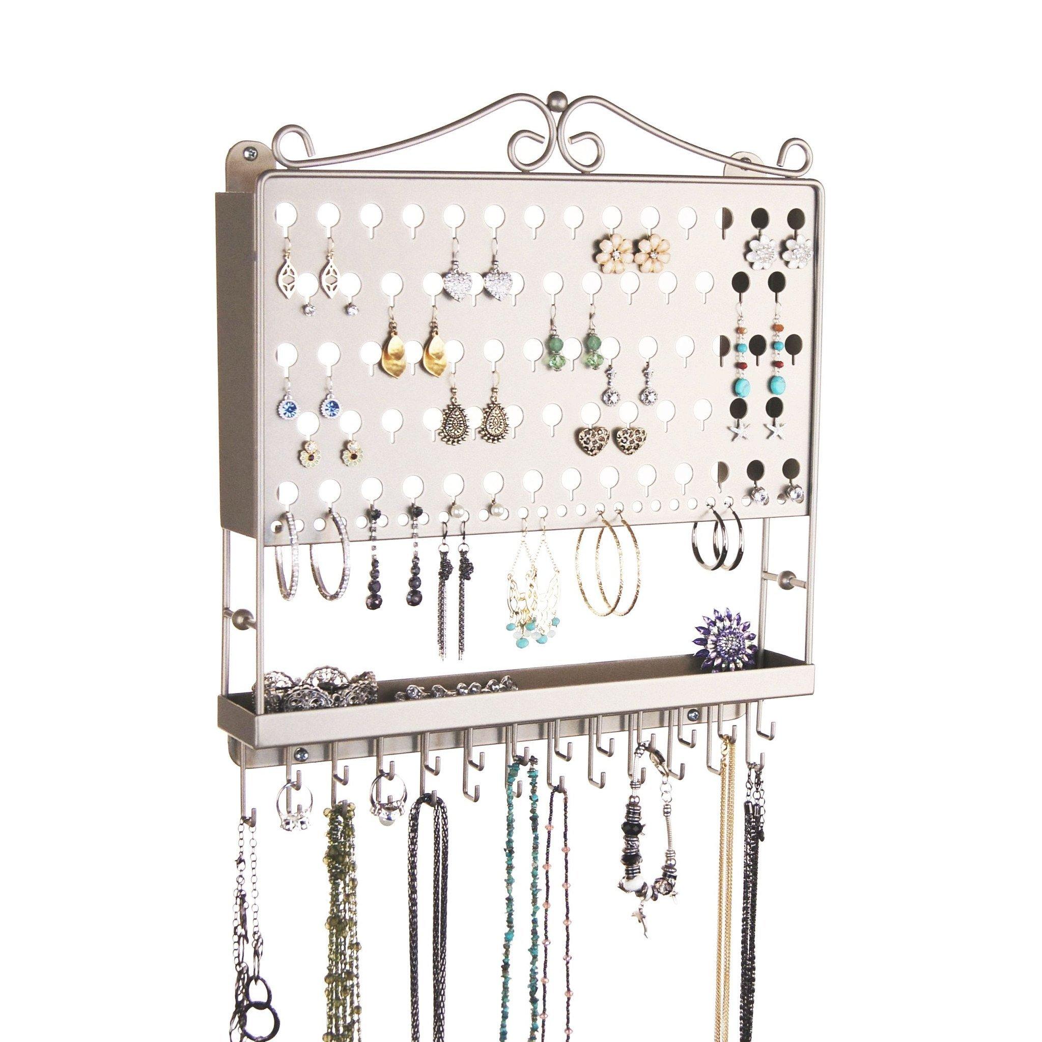 Jewelry Organizer Hanging Earring Holder Wall Mount Necklace Rack Bracelet Closet Storage, Satin Nickel Silver by Angelynn's Jewelry Organizers