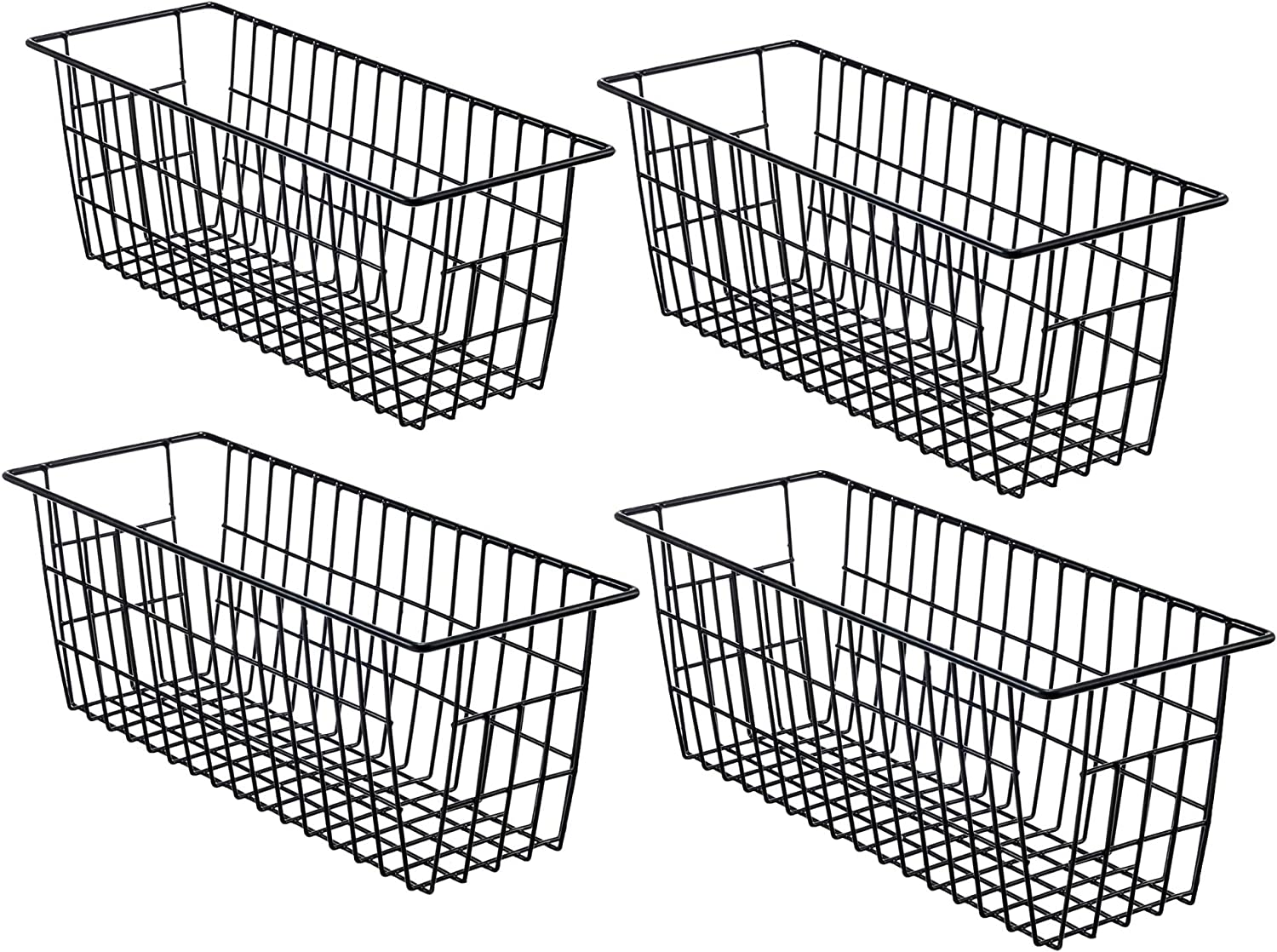 iPEGTOP Toilet Paper Holder Narrow Metal Wire Food Storage Organizer Bin Basket with Handles for Kitchen Cabinets, Pantry, Bathroom, Laundry Room, Closets, Garage, 4 Pack, Black