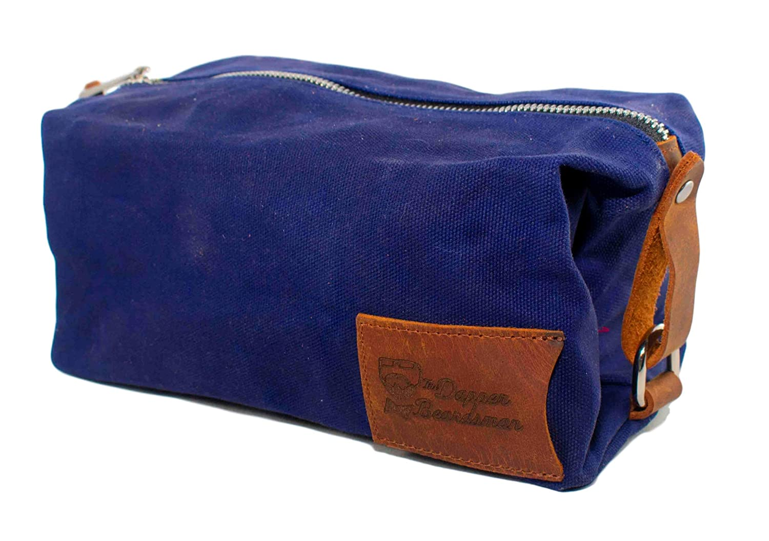 Toiletry Bag Canvas Leather Collection by Dapper Beardsman Blue