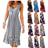 Dresses for Women, Summer Floral Printed Sleeveless Beach Casual Cocktail Party Mini Dress A Line Dress Plus Size S-5XL