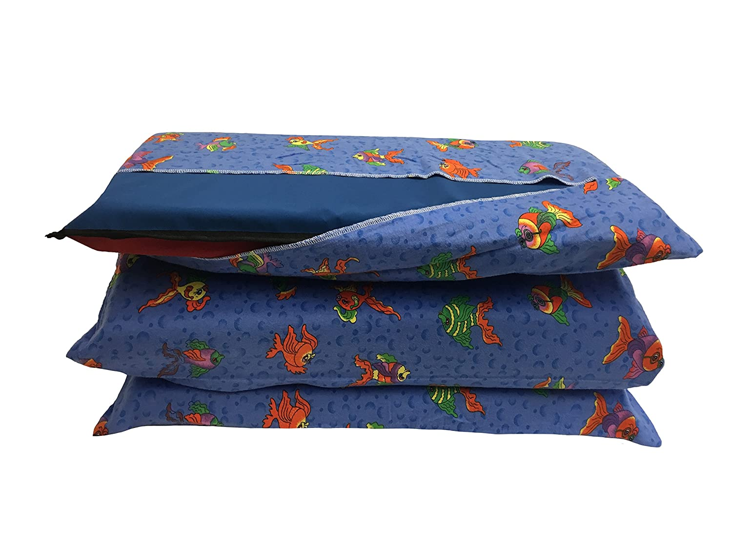 Amazon KinderMat Cover Pillowcase Style Full Sheet For Rest Mats Roughly 24 X 48 Inches Large Ocean And Fish Blue 100 Cotton Flannel Home