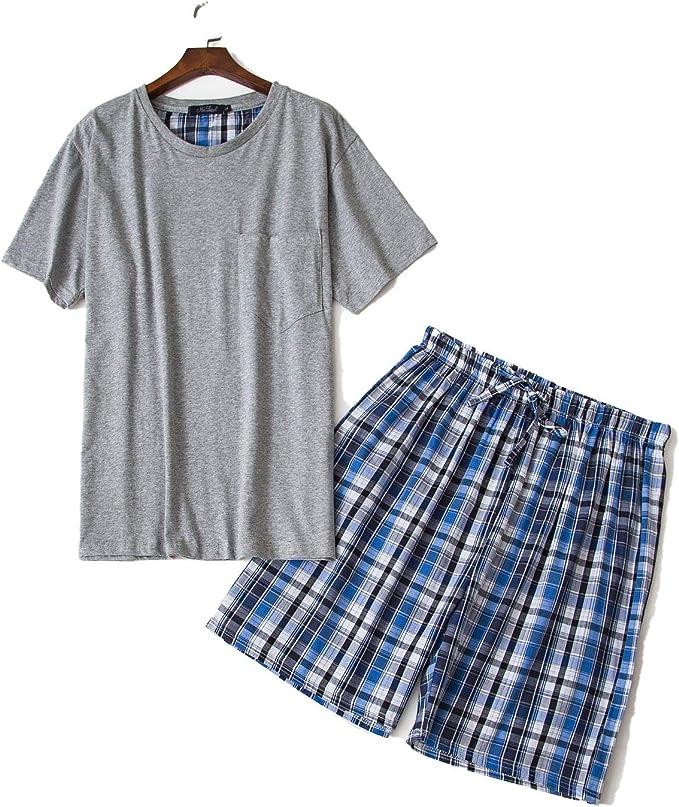 Conjunto de Pijama Corto y Sexy de Verano para Hombre, Manga Corta, Pijama para Hombre, Pijama 100% algodón Gris Gris M: Amazon.es: Ropa y accesorios