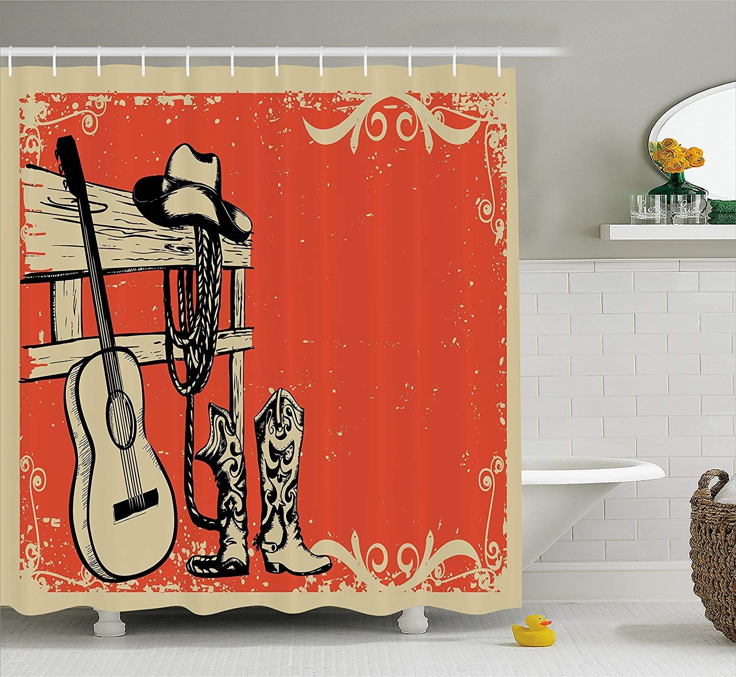 Western Shower Curtain, Image of Wild West Elements with Country Music Guitar and Cowboy Boots Retro Art, Fabric Bathroom Decor Set with Hooks, 84 Inches Extra Long, Beige Orange by Giow