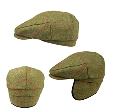 199d8bdad77 Failsworth Hats Tweed Flat Cap with Earflaps 100% Wool- Green Tweed  Shooting Cap (