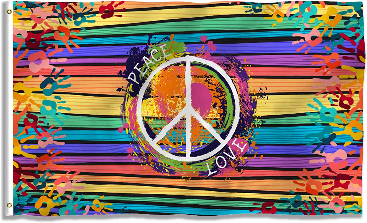 Fancymall Peace Love Sign Decorative Flag 3x5 Ft Vivid Color Double Stitched Polyester Peace World Earth Flag with Brass Grommets for Indoor Outdoor Garden Décor