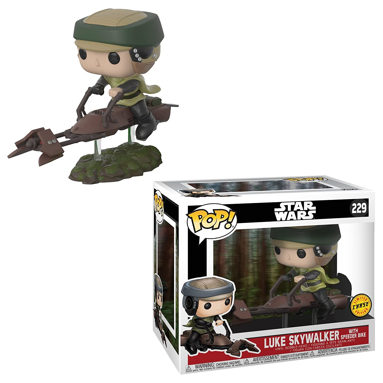 Luke Skywalker with Speeder Bike LIMITED EDITION CHASE and Princess Leia with Speeder Bike Bobble Head Toy Action Figure 2 POP BUNDLE Funko POP Star Wars 40th Anniversary Edition