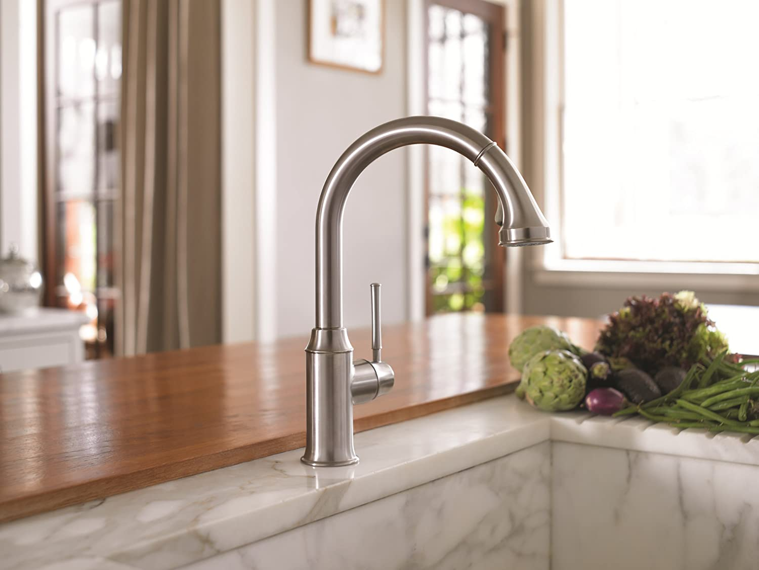 hg talis c higharc single hole kitchen faucet wpull down 2 spray touch on kitchen sink faucets amazoncom