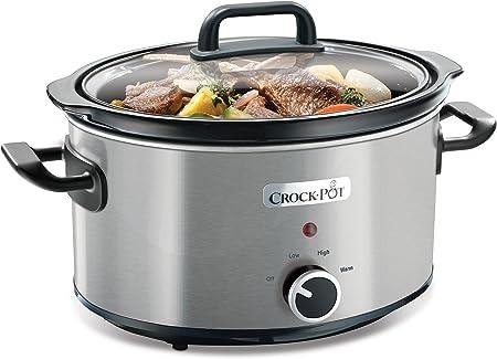 Oferta amazon: Crock-Pot CSC025X Olla de cocción lenta manual para preparar multitud de recetas, 210 W, 3.5 litros, cromado, Plateado
