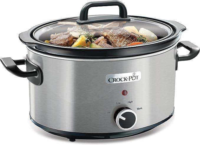Crock Pot CSC025X Olla de cocción lenta manual para preparar multitud de recetas, 210 W, 3.5 litros, Cromado, Plateado