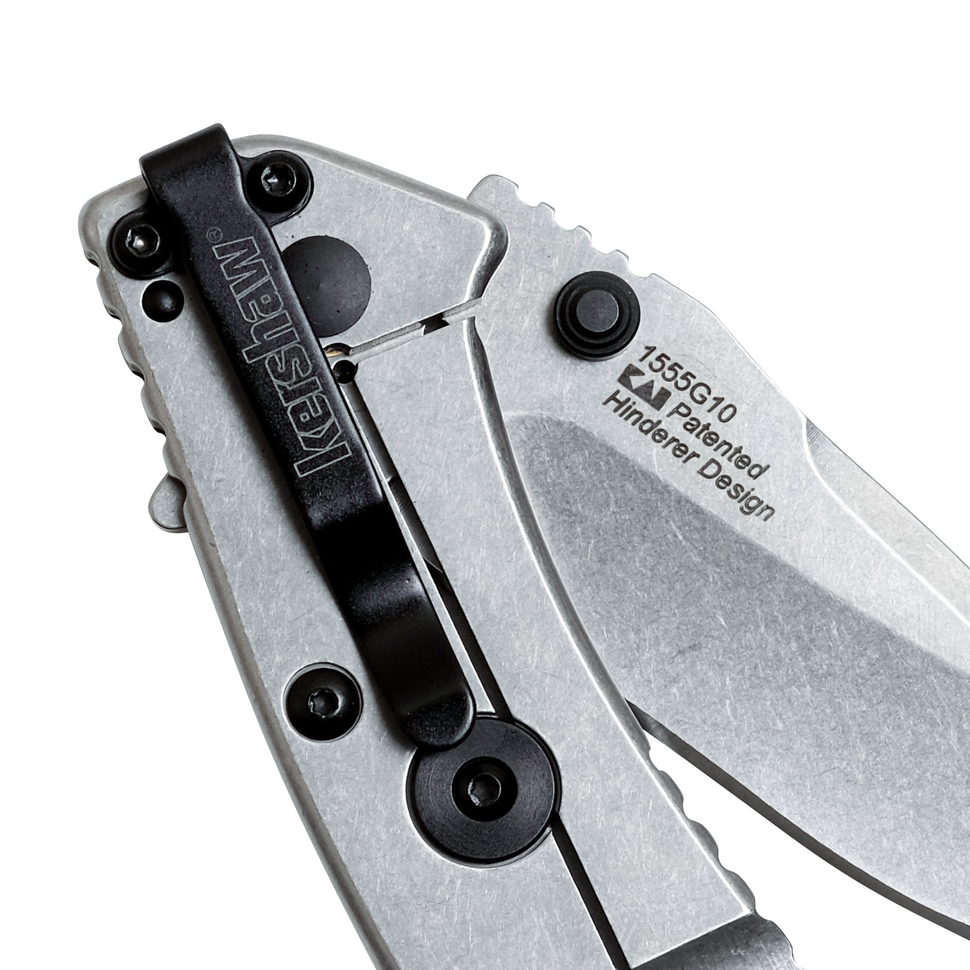 "Kershaw Cryo G-10 Pocket Knife (1555G10) 2.75"" Stonewashed Stainless Steel Blade; G-10/Stainless Steel Handle, SpeedSafe Assisted Open, 4-Position Deep-Carry Pocketclip, Frame Lock, Lock Bar"