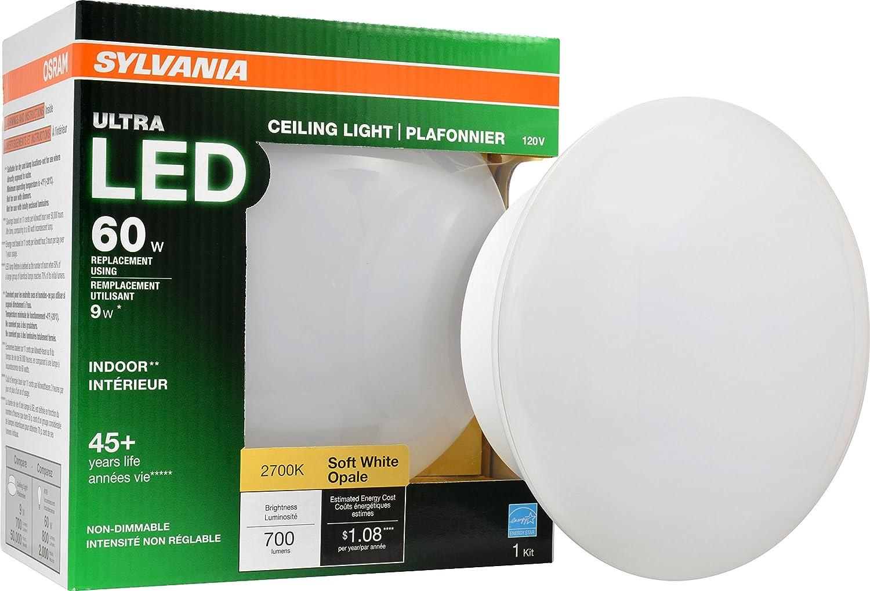 Sylvania Home Lighting 75080 Sylvania 65W Ultra LED Medium Base Retrofit for Ceiling Light Fixtures-Soft White 2700K 9W-75080