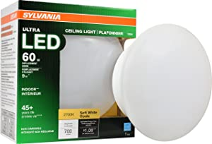 Sylvania Home Lighting 75080 Sylvania 65W Ultra LED Medium Base Retrofit for Ceiling Light Fixtures-Soft White 2700K 9W-75080