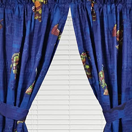 4pc Teenage Mutant Ninja Turtles Curtain Set TMNT Time to Shell Up Drapes with Tie-Backs