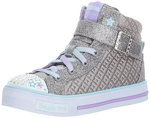 Skechers Kids Kids Shuffles-Twinkle Charm Sneaker,gunmetal/multi,3 M