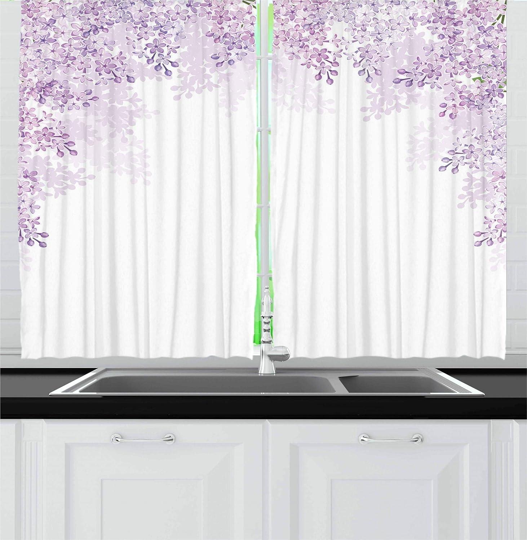 カーテンパープルby Ambesonne、フレーミングライラック花in Blossom Vernal Season Soothingシェードのパープル、リビングルームベッドルームウィンドウドレープ2パネルセット、Pale Mauveライラックホワイト 55