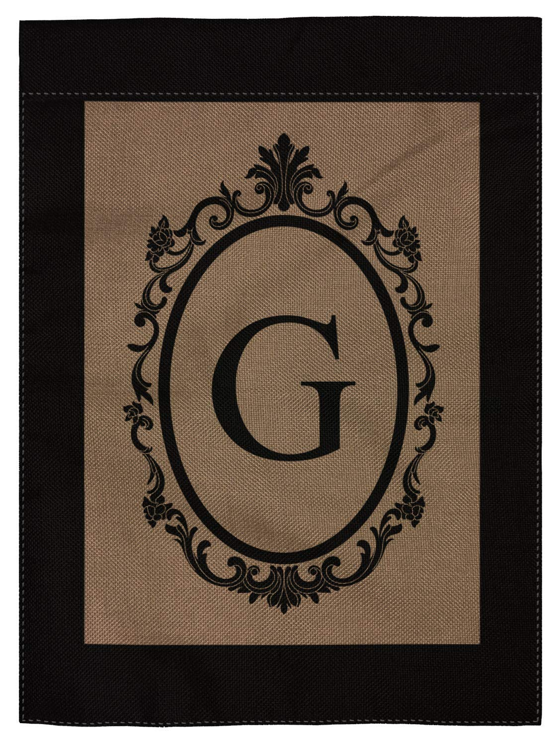 "pingpi G Monogram Double-Sided Burlap Garden Flag - 12.5"" W x 18"" H"