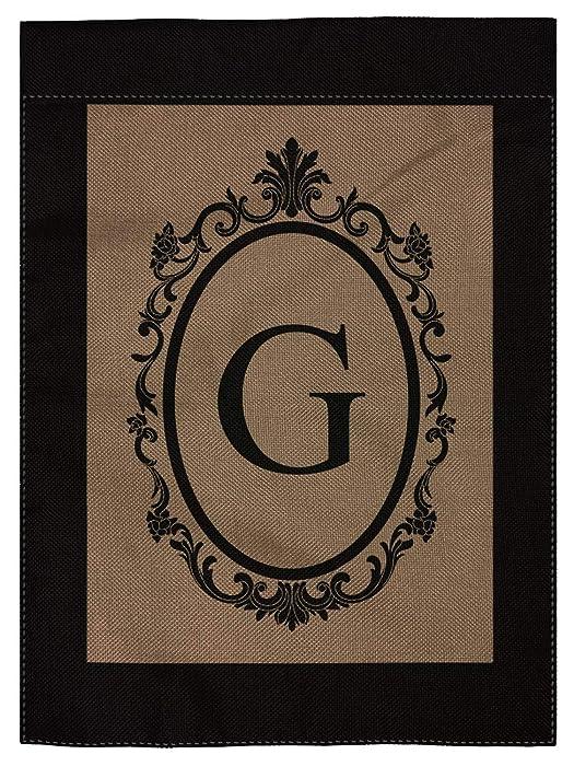 "pingpi G Monogram Double-Sided Burlap Garden Flag - 12.5"" W x 18"" H"