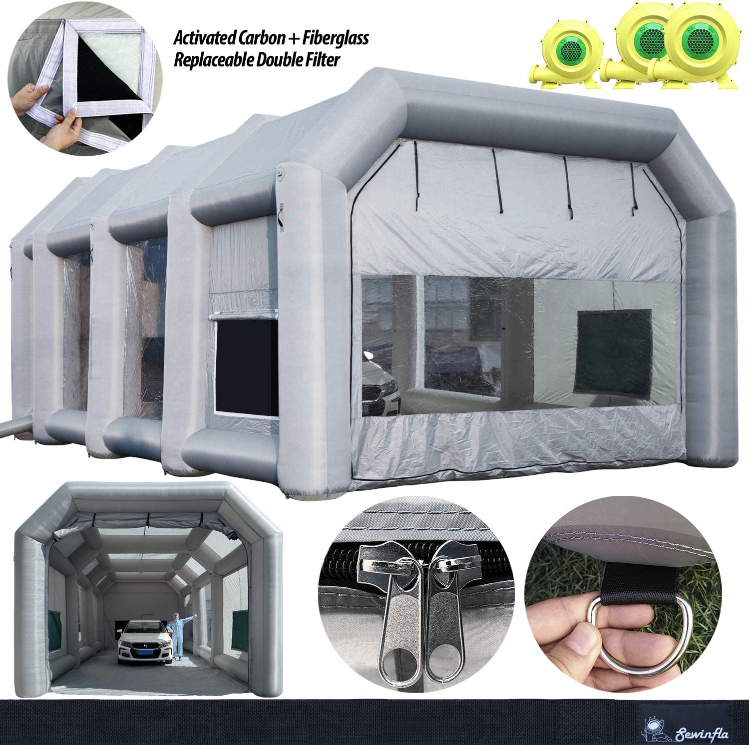 Spray Booth Replacement Filters Inflatable Paint Booth SEWINFLA Portable Car Painting Tent with Two Blowers Upgrade Air Filtration System Environment Friendly More Durable 33x16x11Ft