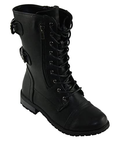 Women's Mango-61 Round-Toe Lace-up Low Heel Combat Style Boots