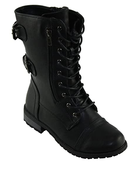 Forever Womens Mango 61 Round Toe Lace Up Low Heel Combat Style Boots