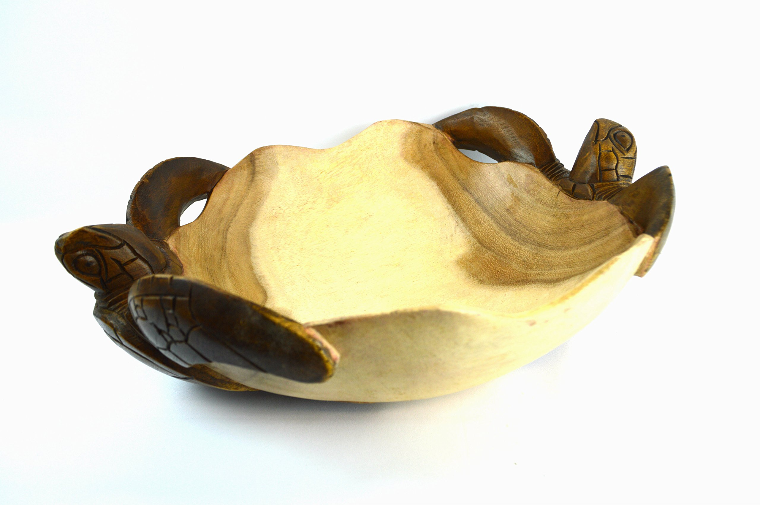 Hand Carved Two Tone Mahogany Wood Nautical Turtle Bowl