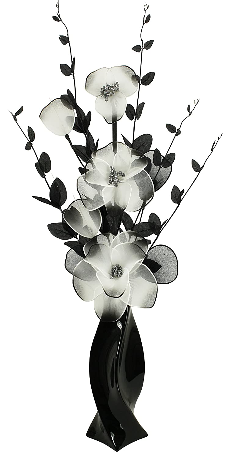 Black Vase With White And Black Artificial Flowers Home Accessories