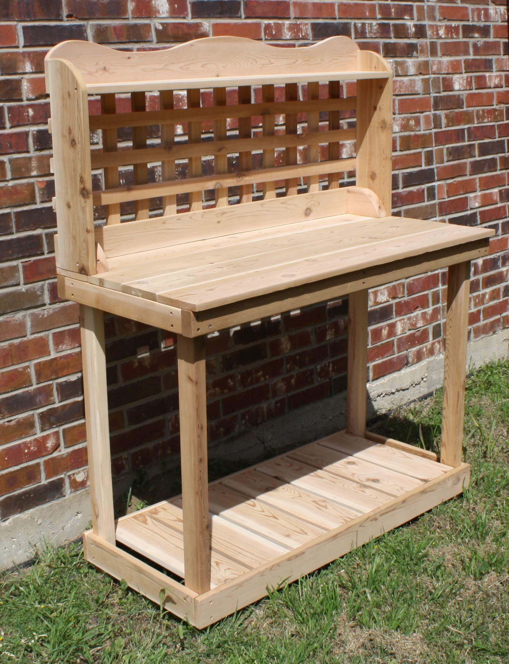 THREE MAN Cedar Decorative Lattice Gardening Potting Bench - 6 Foot Natural by THREE MAN (Image #5)
