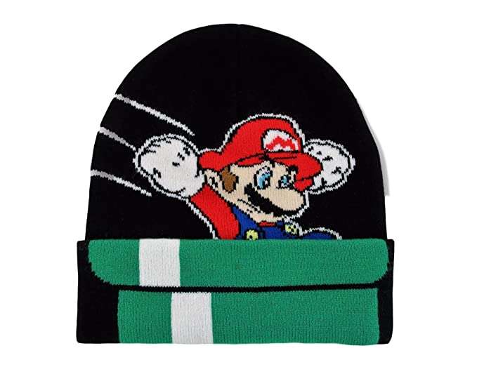 Super Mario Brothers Boys Beanie Hat Mario Winter Cold Weather Hat ... 9a793141990