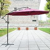 Outsunny 3 m Garden Patio Parasol Sun Shade Banana Hanging Rattan Set Umbrella Cantilever - Red Wine