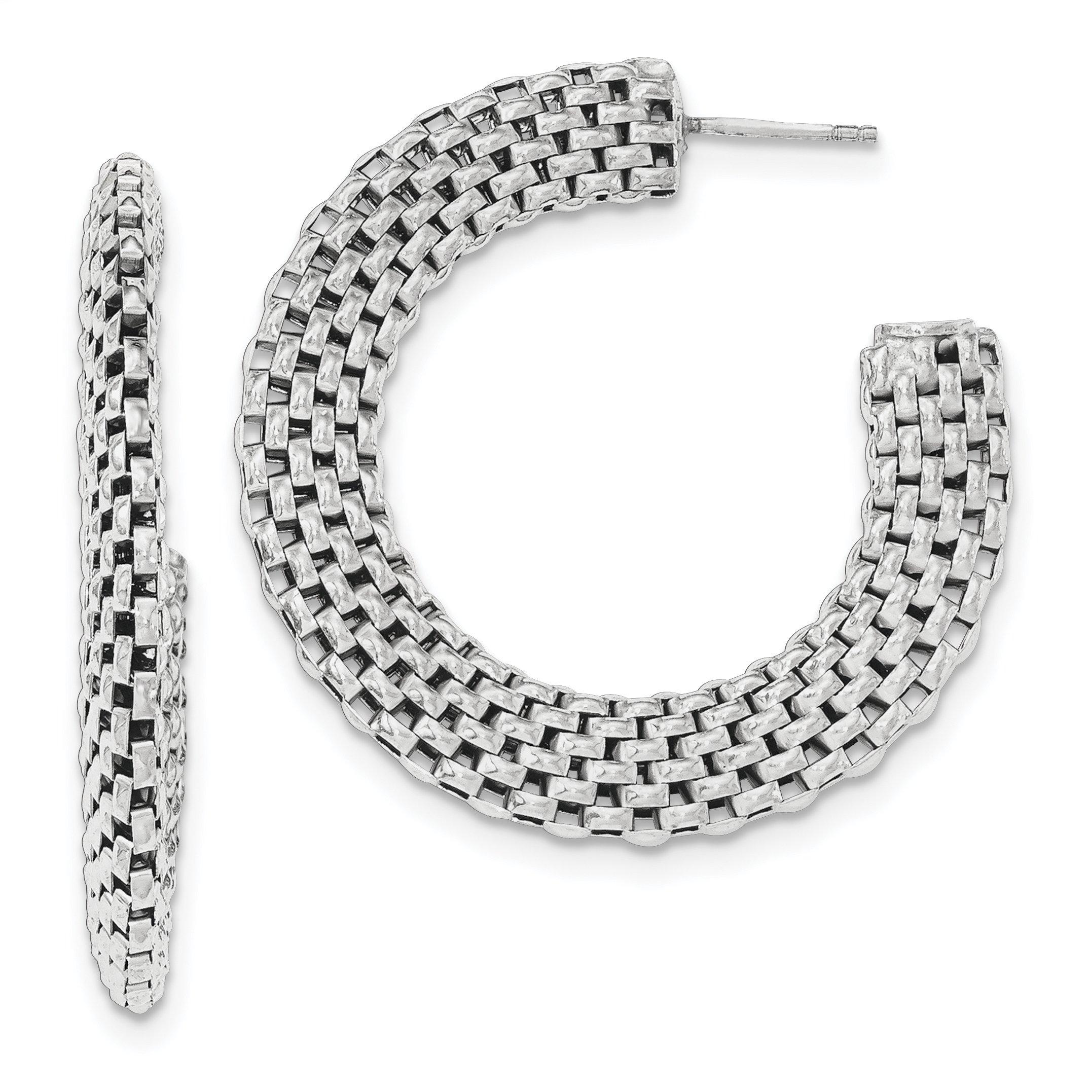 ICE CARATS 925 Sterling Silver Mesh Post Stud Hoop Earrings Ear Hoops Set Fine Jewelry Gift Set For Women Heart