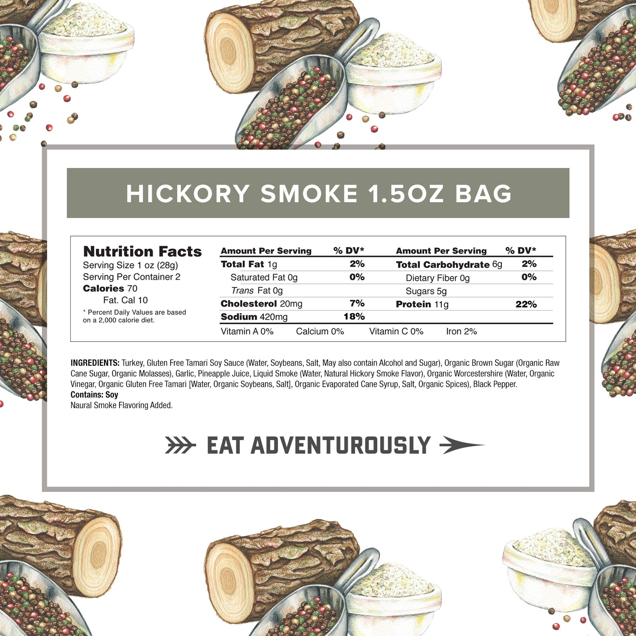 Hickory Smoke Turkey Jerky by Country Archer   Antibiotic Free   Gluten Free   1.5 Ounce (Pack of 12) by Country Archer (Image #3)