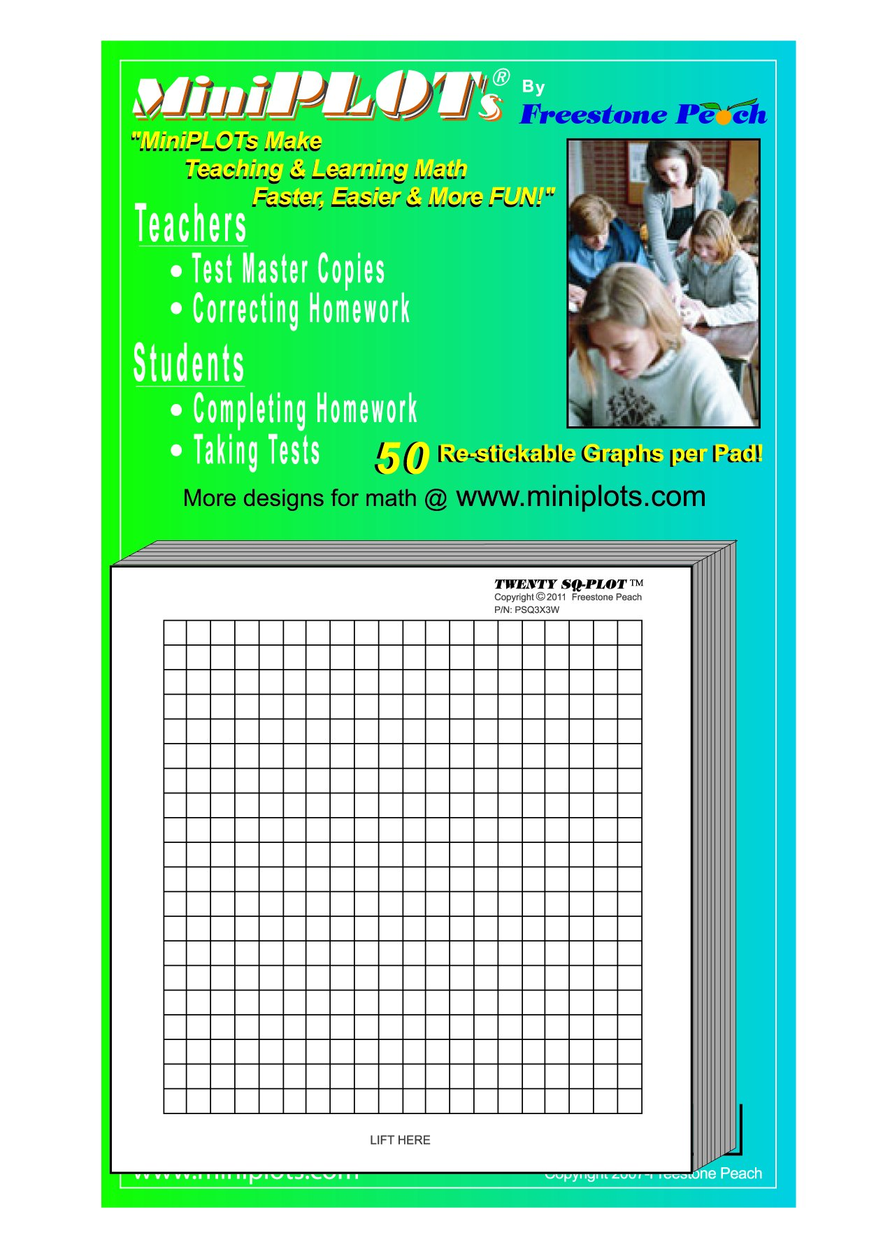MiniPLOT Graph Paper Pads: 100 pads of 3x3 inch pre-printed Post-it Notes. 50 sheets per pad of coordinate grid design with NO axis. Grid = 20x20 squares.Use for homework, taking notes in class, tests by MiniPLOTs (Image #1)