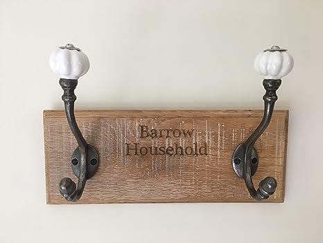 Personalizado - Perchero de pared en madera de roble maciza ...