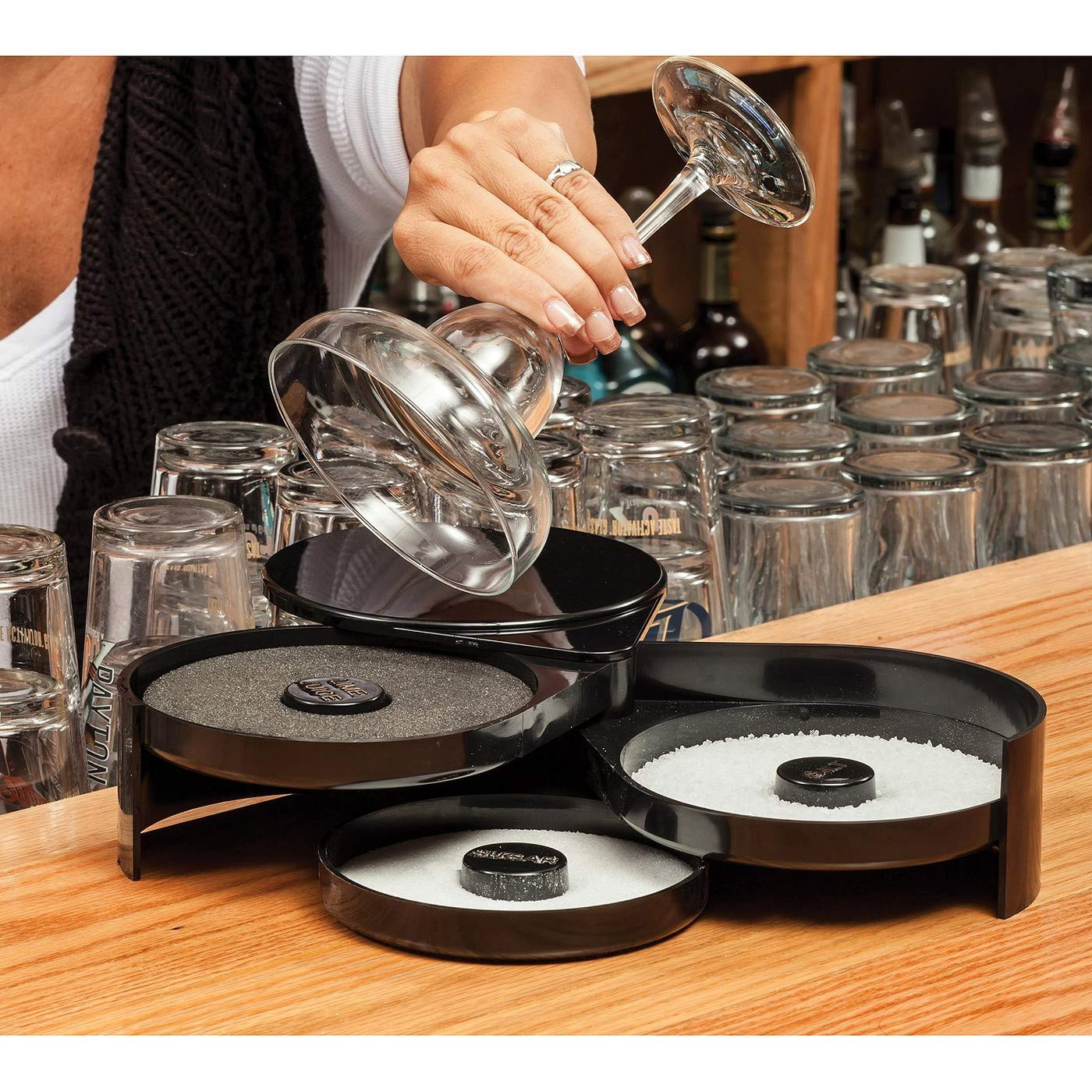 New Star Foodservice 48360 Plastic 3-Tier Bar Glass Rimmer, Black