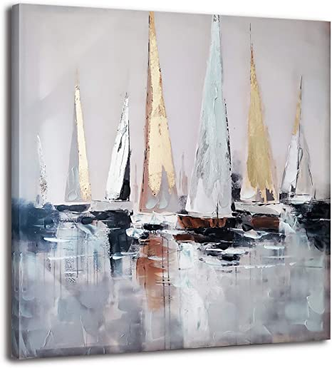 Amazon Com Sailboat Oil Painting Canvas Wall Art Modern Abstract Handmade Painting Artwork Framed Ready To Hang For Living Room Home Decor Posters Prints