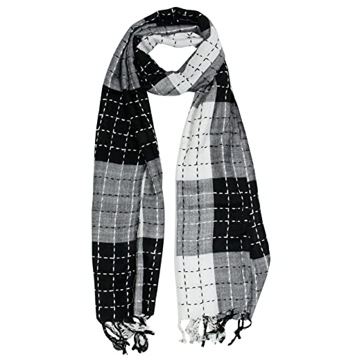 50a3ce6f36 White and Black Plaid Checkered Design Rectangle Women s Hijab Scarf ...