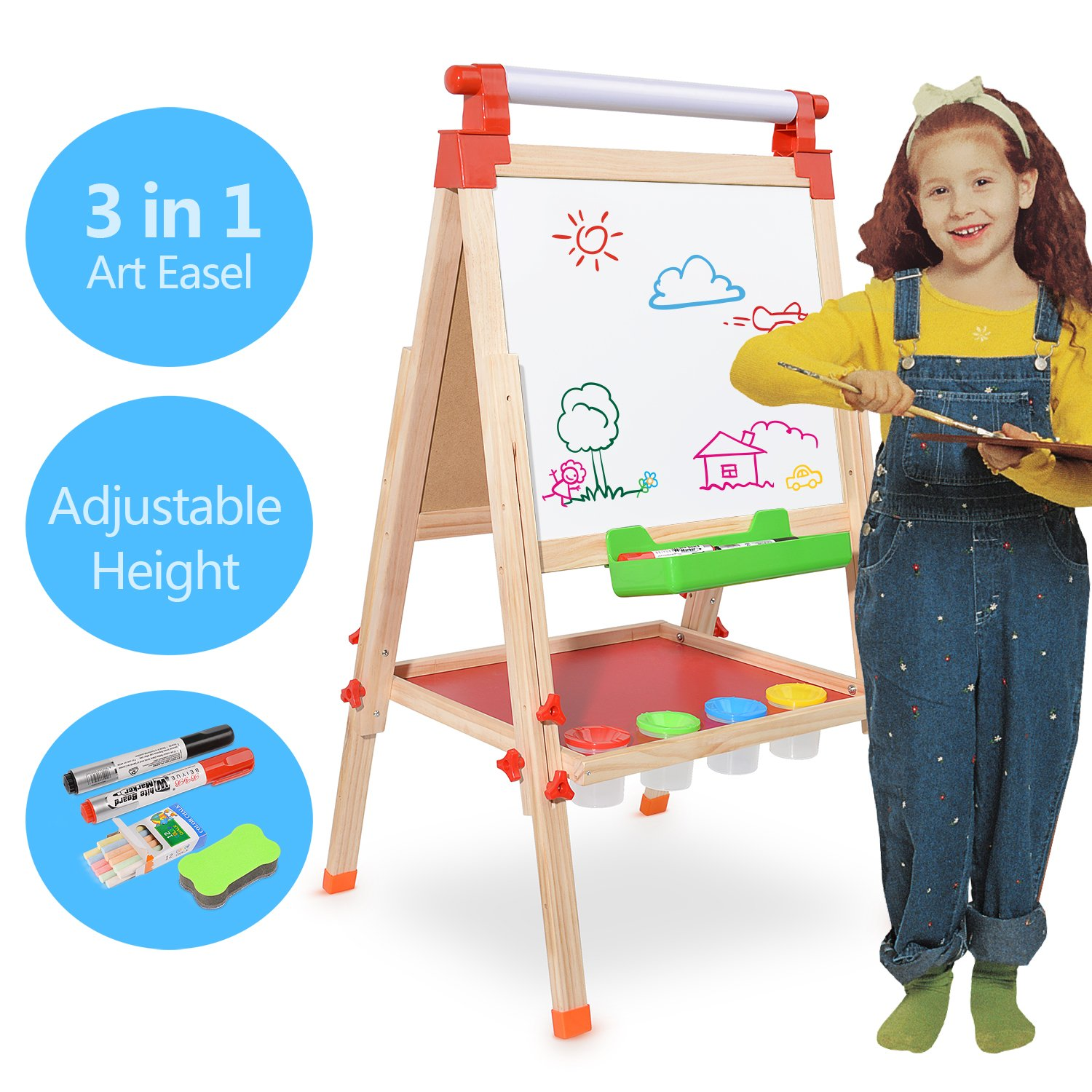 Amagoing Children Kids 3 in 1 Multifunctional Double Sided Black/White Wooden Easel with Paper Roll Art Station Chalk Drawing Board Adjustable